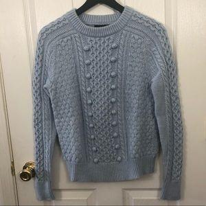 Jcrew Cable knit Pom-Pom Crew neck Sweater